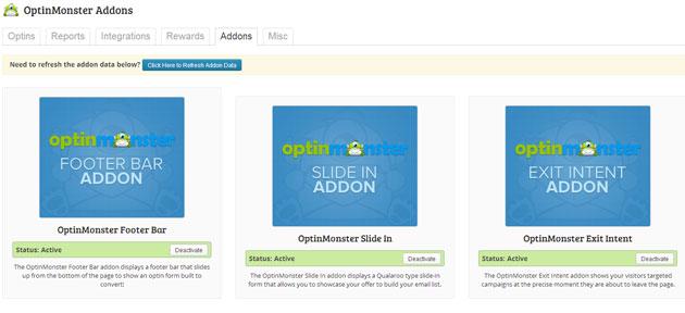 Addons Screen