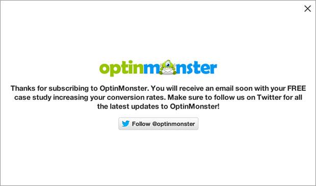 OptinMonster Success Message