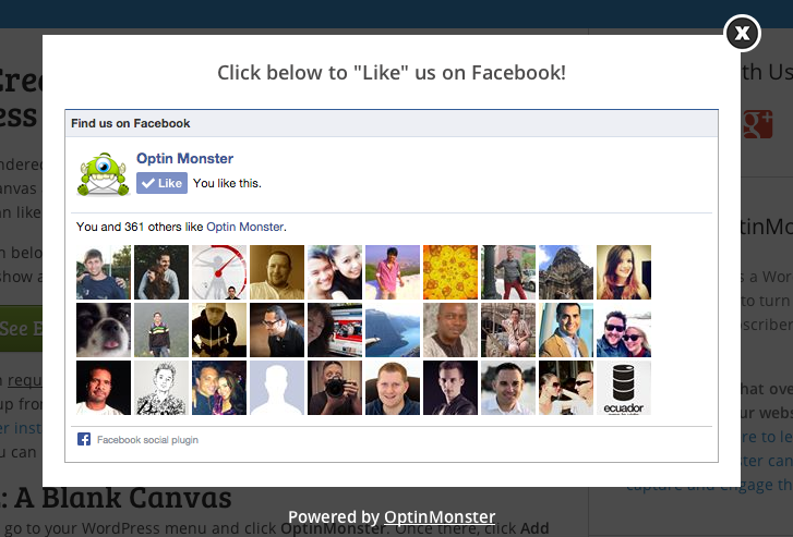 Official OptinMonster Canvas Facebook Popup