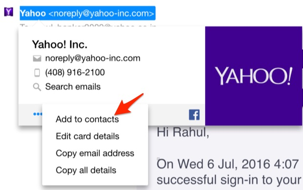 Yahoo - Add OptinMonster to Contacts