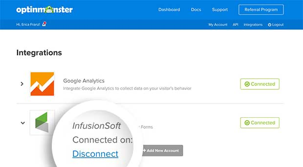 Select the Disconnect link for the InfusionSoft integration you want to remove from OptinMonster.