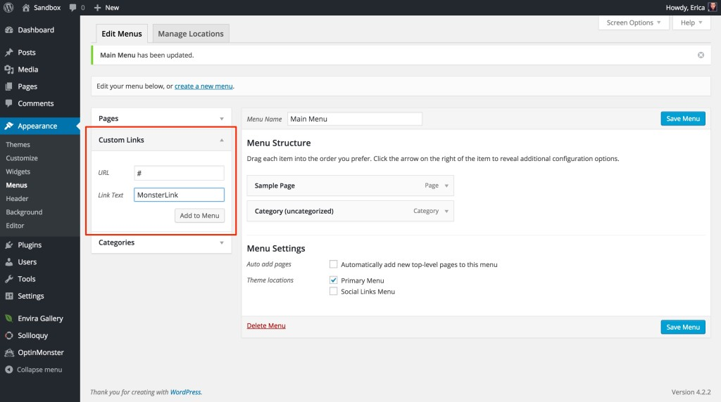 The first step in adding a MonsterLink to your WordPress menu is adding a new custom link.