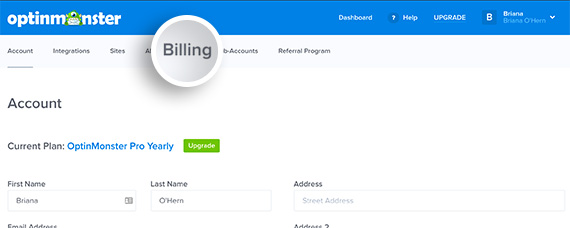 Dashboard Click Billing