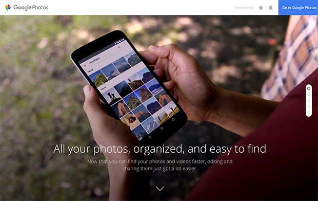 Google Photos website using a fullscreen video background