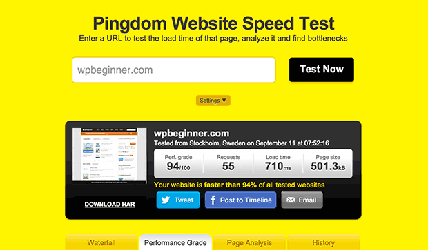Using pingdom to test your page speed