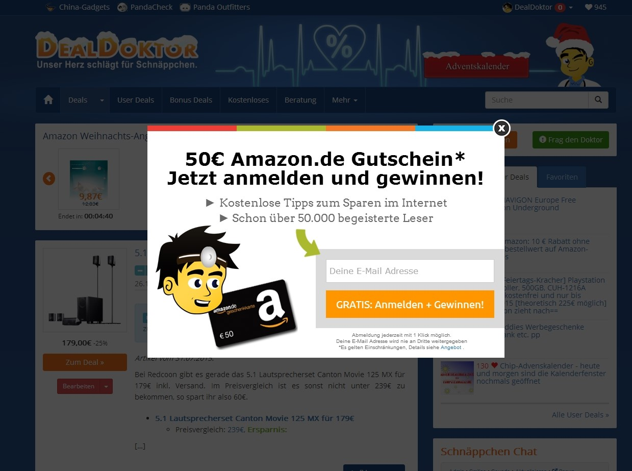 DealDoktor.de Used a Lightbox Optin To Collect Leads