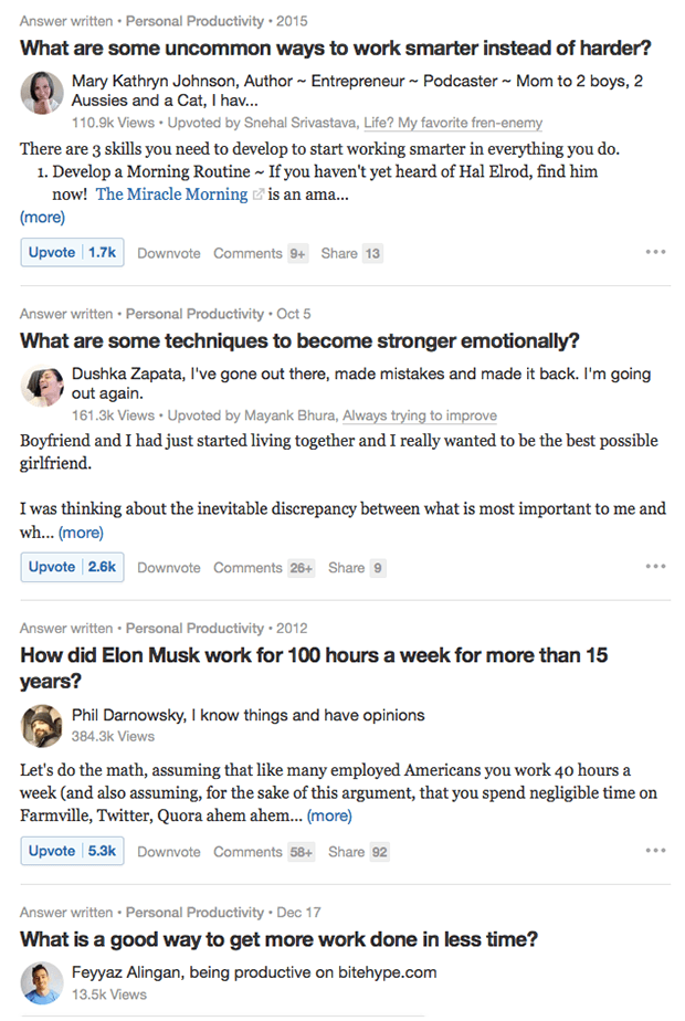 Example questions from Quora
