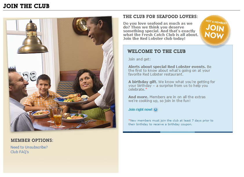 Red Lobster's Club Includes Birthday Coupons