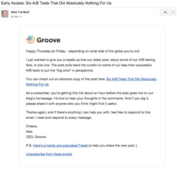 Groove Early Access Email