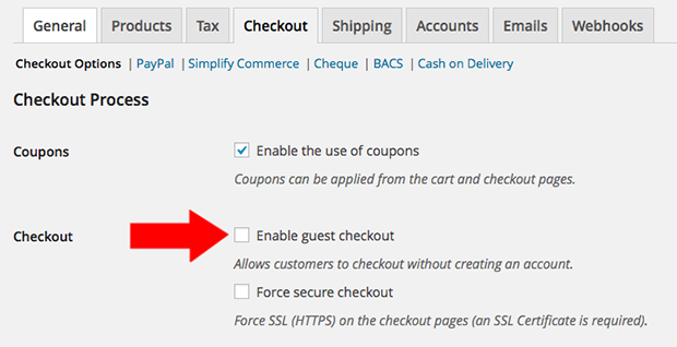 WooCommerce Enable Guest Checkout