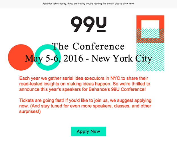 99u Local Event geo targeted email marketing