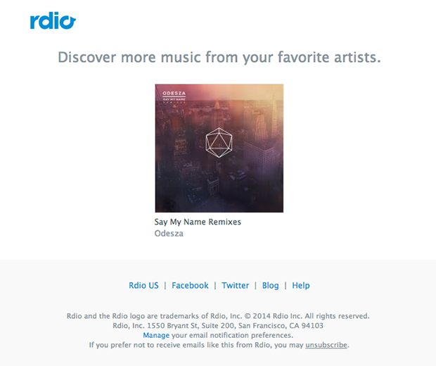 Rdio targeted email based on interests