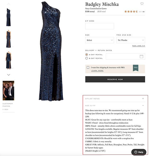 Rent the Runway Product Page