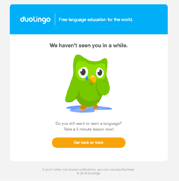 We Miss You Duolingo Email
