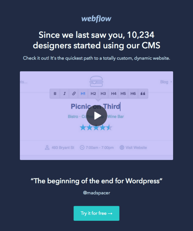Webflow miss you email