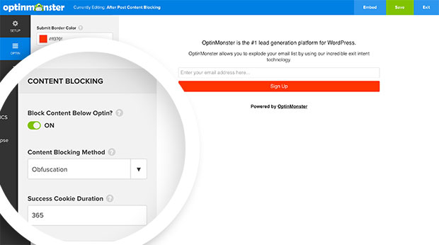 Configure the Content Blocking options for your After Post / Inline optin in the Optin panel of the builder.