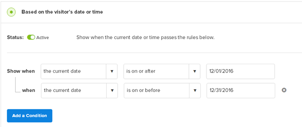OptinMonster Date / Time Rule
