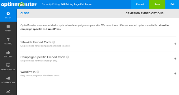 Sitewide Embeds for OptinMonster