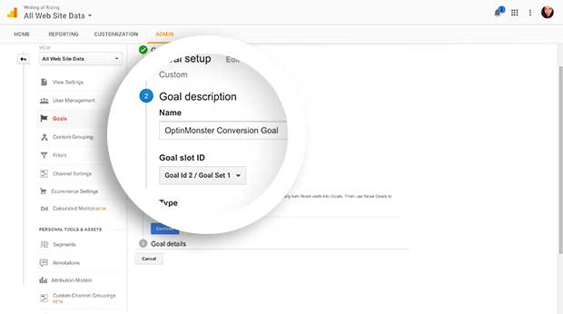 Enter a Goal description to identify your goal later on in Google Analytics.