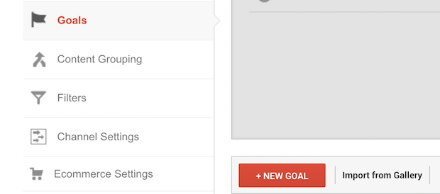 google analytics new goal button