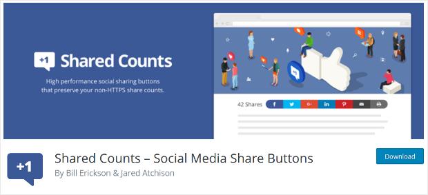 shared counts social media sharing button plugin