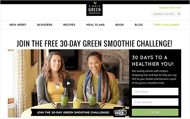 grow your email list fast with a smoothie challenge example