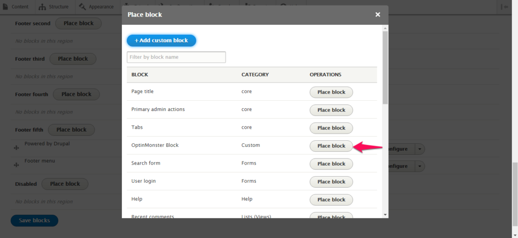 Click the grey Place Block button next to the custom block you previously created.