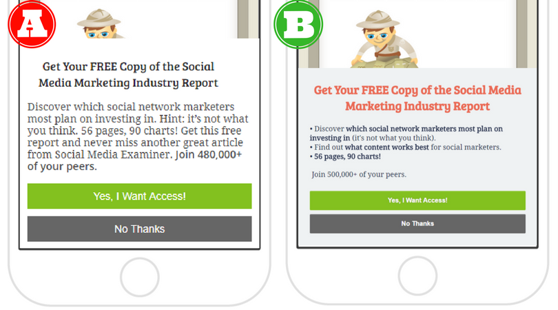 Social Media Examiner's mobile split test