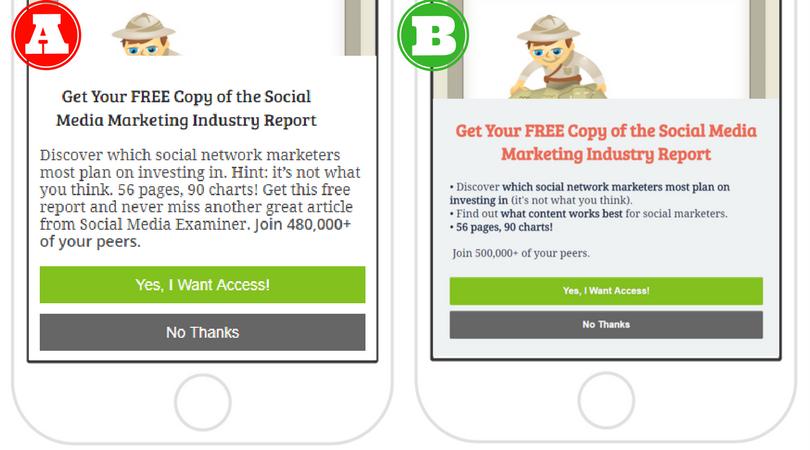 Social Media Examiner's mobile split test