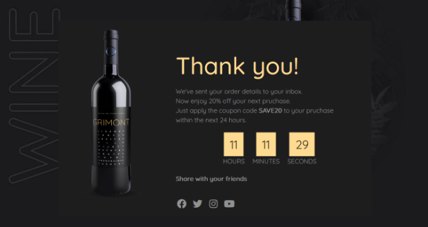 full thank you page ecommerce