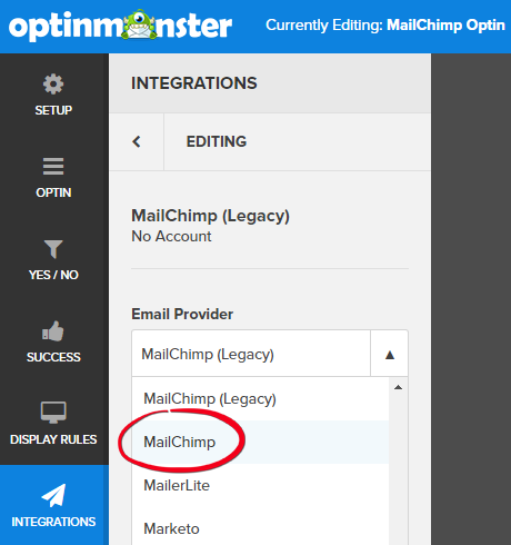 Update to the new MailChimp integration API