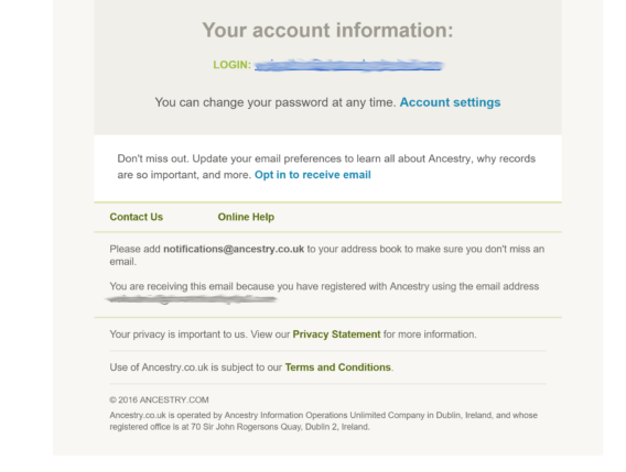 welcome email examples - ancestry