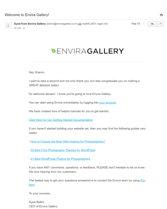 envira welcome email