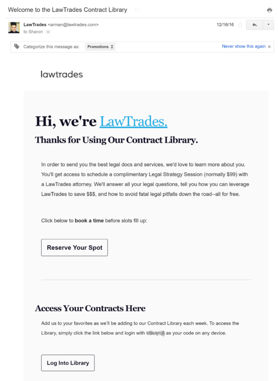 lawtrades welcome email