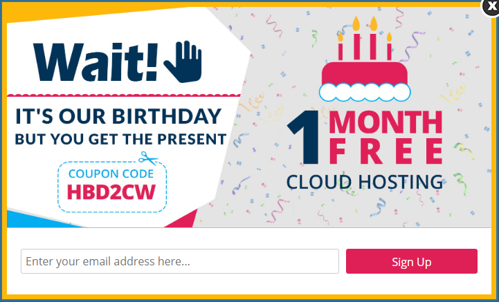 Cloudways offered 1 month free in this seasonal optin