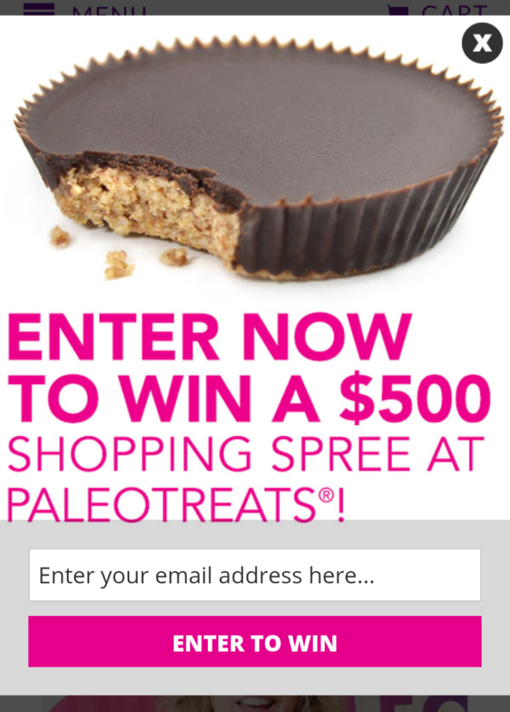 Paleo Treats Mobile Optin