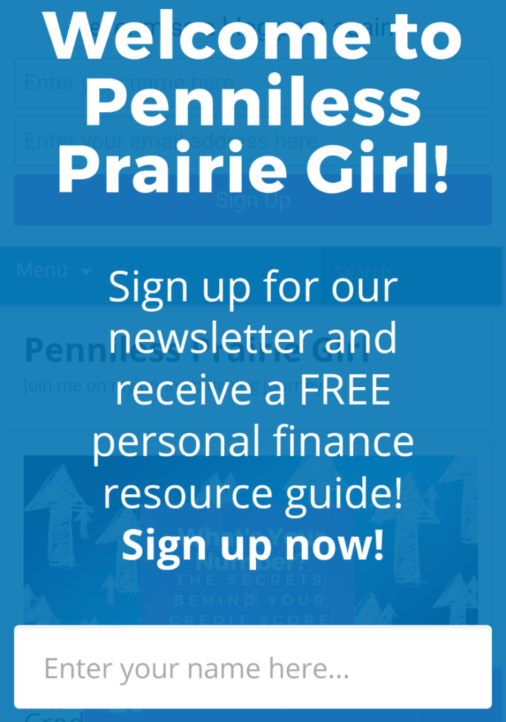 Penniless Prairie Girl Mobile Optin