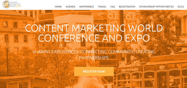 content marketing institute landing page example