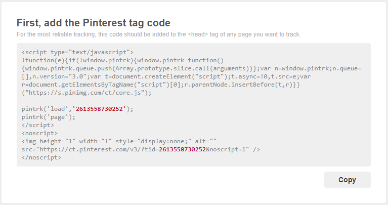 Add the Pinterest tag code to the head of your page.