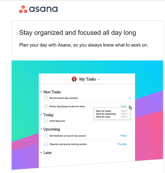 asana welcome email series