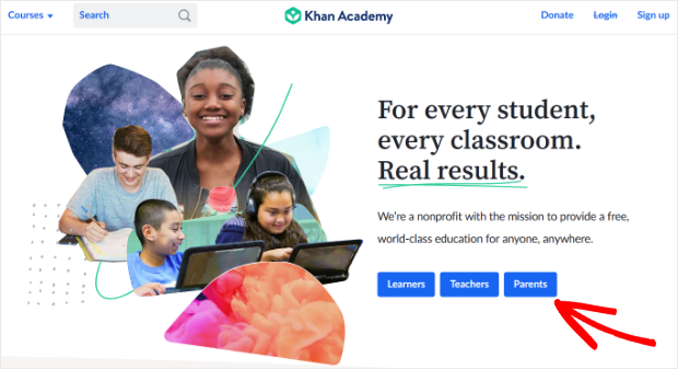 khan academy optin landing page to segment users