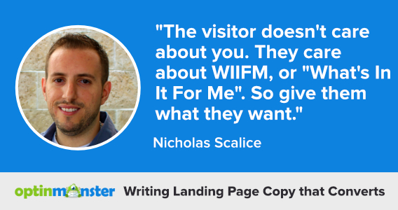 nicholas scalice writing landing page copy
