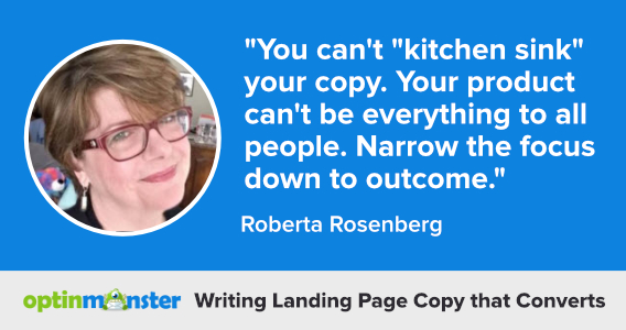 roberta rosenberg writing landing page copy