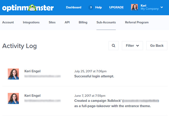 optinmonster sub-accounts activity log
