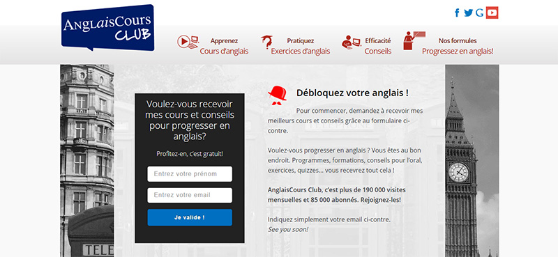 AnglaisCours uses content upgrades to increase conversions