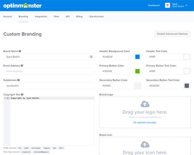 OptinMonster Custom Branding Setting