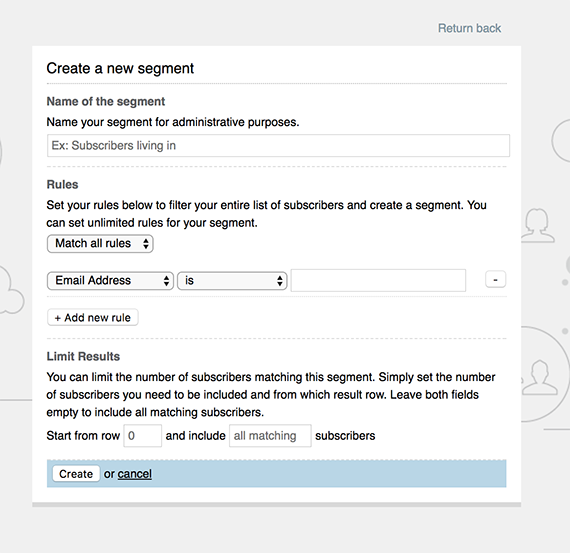 Specify the name, rules, and limit of your segment.