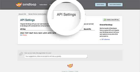 Select the API Settings tab in your SendLoop Settings page to navigate to the API keys