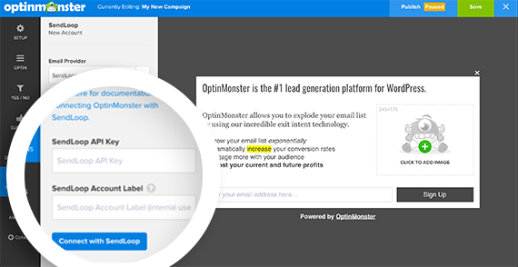 Click the Connect with SendLoop button to finish connecting SendLoop with OptinMonster.