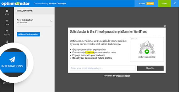 Select the Integrations tab in the optin builder to begin connecting your Email Service Provider to OptinMonster.